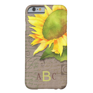 Hip Vintage Feel Sunflower Monogram iPhone 6 Cases Barely There iPhone 6 Case