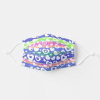 Hip White Heart Pattern Pink Blue Green Stripes Adult Cloth Face Mask
