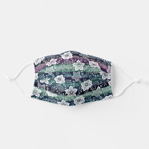 Hip White Paisley On Dark Purple Teal Blue Stripes Cloth Face Mask
