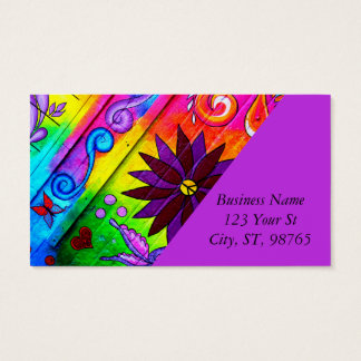 hip wild groovy 70's colors business card
