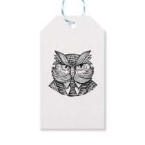 Hip Wise Owl Suit Woodcut Gift Tags