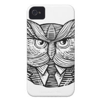 Hip Wise Owl Suit Woodcut iPhone 4 Case-Mate Case