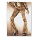 Hip woman in gold disco dancing cards