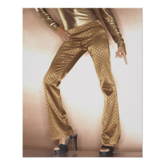 Hip woman in gold disco dancing poster
