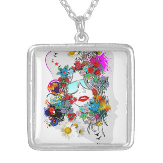 Hip Woman with Flowers Silver Photo Necklace