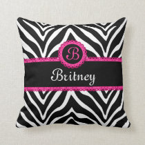Hip Zebra Print and Lace Monogram Throw Pillow