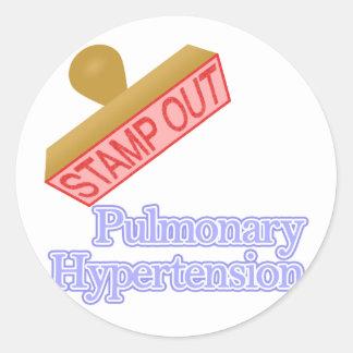 Hipertensión pulmonar pegatina redonda