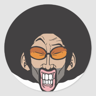 Hiphop Afro man Classic Round Sticker
