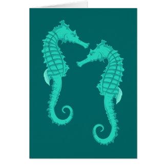 Hipocampo sea horses tarjeta de felicitación