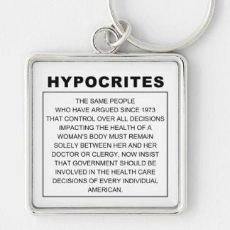 Hipócritas Llavero Cuadrado Plateado