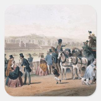 Hipódromo en el Bois de Boulogne Calcomanía Cuadradase