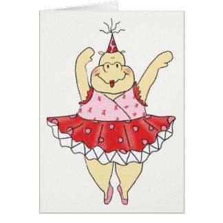 Hipopótamo amarillo del cumpleaños felicitación