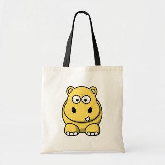Hipopótamo amarillo lindo bolsa tela barata