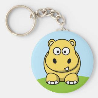Hipopótamo amarillo lindo llavero redondo tipo pin