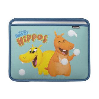 Hipopótamo amarillo y anaranjado funda para macbook air