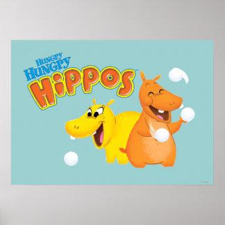 Hipopótamo amarillo y anaranjado posters