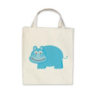 Hipopótamo azul lindo bolsas