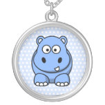 Hipopótamo azul lindo colgante redondo