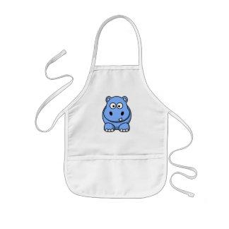 Hipopótamo azul lindo delantal infantil