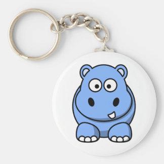 Hipopótamo azul lindo llavero redondo tipo pin