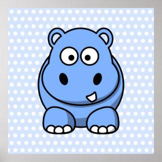 Hipopótamo azul lindo posters