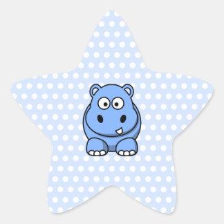 Hipopótamo azul lindo pegatina en forma de estrella