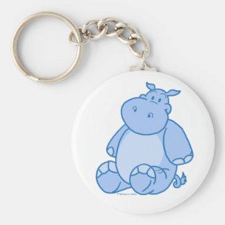 Hipopótamo azul llavero redondo tipo pin