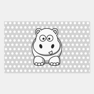 Hipopótamo blanco lindo etiqueta