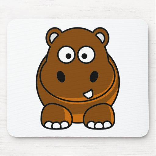 Hipopótamo Brown Alfombrillas De Ratón