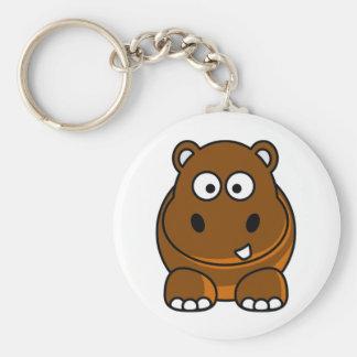 Hipopótamo Brown Llavero Redondo Tipo Pin