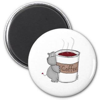 Hipopótamo con café iman