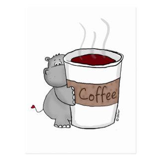 Hipopótamo con café tarjetas postales