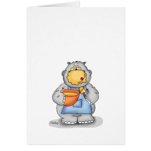 Hipopótamo de la hornada que come la pasta - perso tarjetas