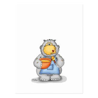Hipopótamo de la hornada que come la pasta - perso tarjetas postales