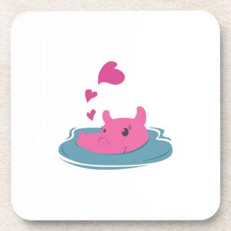 Hipopótamo de la tarjeta del día de San Valentín Posavasos