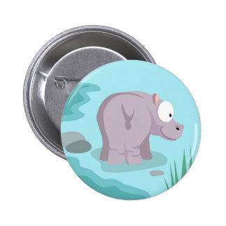 Hipopótamo de mi serie de los animales del mundo pin redondo de 2 pulgadas