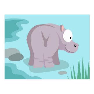 Hipopótamo de mi serie de los animales del mundo postales