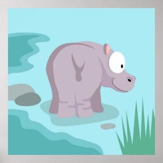 Hipopótamo de mi serie de los animales del mundo póster