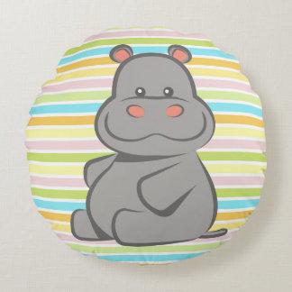 Hipopótamo del bebé cojín redondo