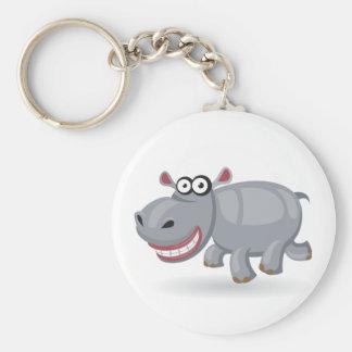 Hipopótamo del bebé del dibujo animado llavero redondo tipo pin