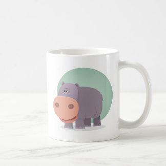 Hipopótamo del dibujo animado taza básica blanca