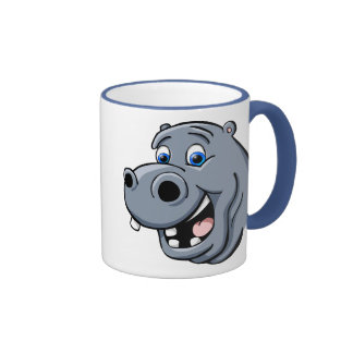 Hipopótamo del dibujo animado taza de dos colores
