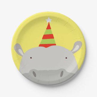 Hipopótamo del fiesta plato de papel de 7 pulgadas