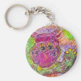 Hipopótamo del Hippie de Hippiepotamos Llavero Redondo Tipo Pin