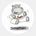 Hipopótamo del karate etiquetas redondas