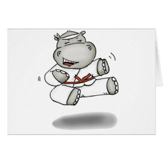 Hipopótamo del karate tarjeta de felicitación