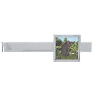 Hipopótamo del obús alfiler de corbata plateado