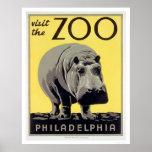 Hipopótamo del parque zoológico del PA de Philadel Póster