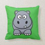 Hipopótamo en Backgroun verde Almohadas