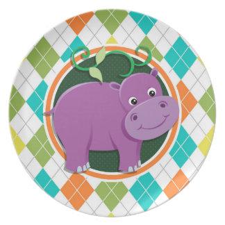 Hipopótamo en el modelo colorido de Argyle Plato Para Fiesta